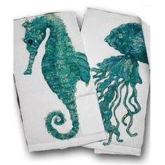 jelly fish seahorse towel