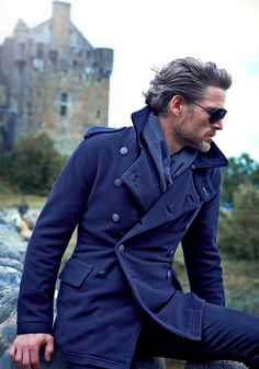 Navy Blue Double Breasted Coat, Mens Fall Winter Fashion.