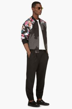 3.1 PHILLIP LIM Black Eembroidered New Wave Bomber Jacket