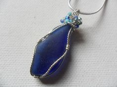 "Cobalt blue wire wrapped sea glass necklace - Sterling silver plated 18"" chain by ShePaintsSeaglass on Etsy"