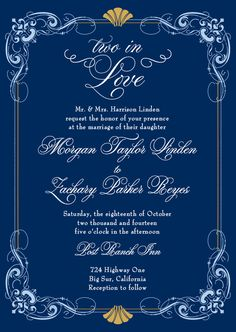 In Deco Love:Navy, Art Deco fans, gold and navy, $1.99 ea (90 invites), $1.94 ea (95 invites)
