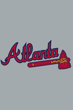 Atlanta Braves Jersey Logo - 'Atlanta' in scarlet with a navy outline above a scarlet tomahawk on grey, worn on the Atlanta Braves road jersey from 1987 to present day. Mlb Team Logos, Mlb Teams, Sports Teams, Sports Logos, New York Yankees Baseball, Braves Baseball, Softball, Brave Wallpaper, Wallpaper Backgrounds