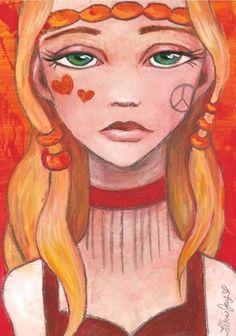 """Imogen"" Acrylic and Graphite on Panel. By Leilani Joy. http://www.leilanijoy.com/  Hippie girl art painting vintage san francisco headband orange red head peace female braids illustration fashion anime manga"