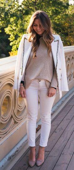 #fall #outfits women's white capri pants and blazer