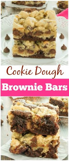 A mouthwatering cookie dough brownie recipe that consists of a fudgy brownie layer and a soft, chewy chocolate chip cookie layer. I used the cake mix cookie recipe. Baking Recipes, Cookie Recipes, Dessert Recipes, Oreo Dessert, Dessert Bars, Cookie Dough Brownies, Brownie Cookies, Cookie Dough Bars, Bar Cookies