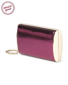 Made In Italy Leather Carmen Metallic Clutch - Handbags - T.J.Maxx