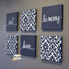 Navy Blue Eat Drink & Be Merry Wall Art Pack of 6 Canvas Wall decor diy canvas This item is unavailable Black Wall Decor, Canvas Wall Decor, Diy Canvas Art, Wall Art Decor, Room Decor, Wall Decor Crafts, Canvas Wall Art Quotes, Diy Wand, Mur Diy