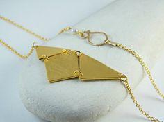 Geometric gold necklace triangle necklace by AyalaVitkon on Etsy, $74.00