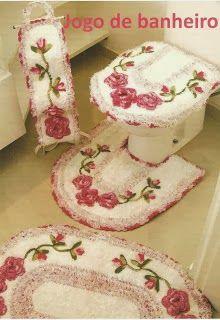 Pink roses bathroom set ❤️LCB-MRS❤️ with diagrams --- Maria Chike: Jg de Banheiro Com Flores Aplicadas + Vídeo