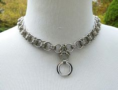 24/7 Wear BDSM Collar Helmsweave Chainmaille Submissive O Ring Slave Collar Choker Stainless Steel Day Collar