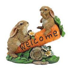 Concrete Statues, Wooden Statues, Concrete Garden, Animal Statues, Animal Sculptures, Outdoor Garden Statues, Rabbit Garden, Gnome Statues, Garden Signs