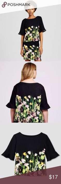 "NWOT Victoria Beckham for Target Blk Floral Blouse NWOT, washed but never worn. Armpit to armpit 19"", length 21"". Super feminine and chic fabric with flutter sleeves. Very flattering. Victoria Beckham for Target Tops Blouses"