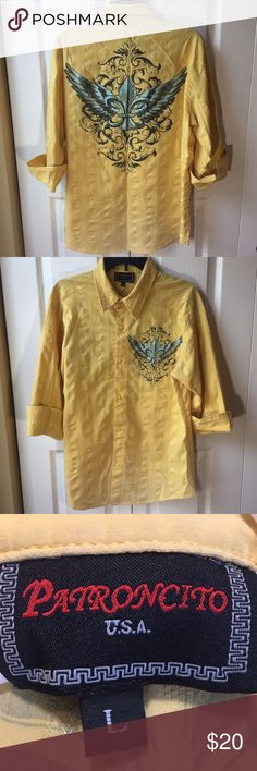 Yellow Cuffed sleeve men's button down Size large, grand fleur-de-lis design on the back and front. patroncito Shirts Casual Button Down Shirts