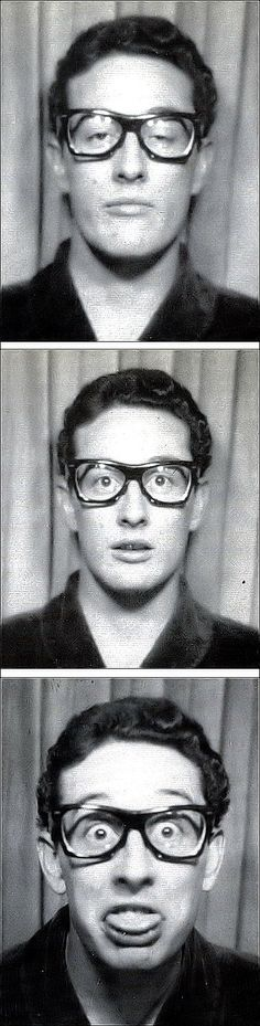 Buddy Holly in a photo booth. I guess we have him to thank for the large-rimmed glasses trend.