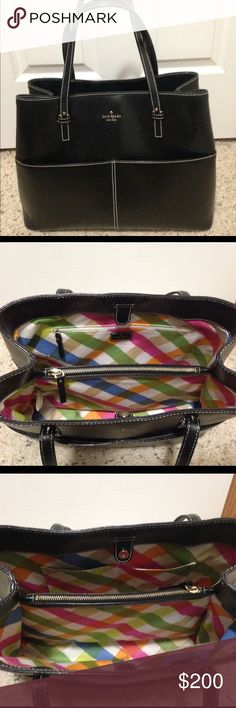 Kate spade grant st black tote EEEEUC kate spade grant street Gabriel tote in black. Four outside slip pockets, two inside slip pockets, middle zip compartment and inside zip pocket. Comes with dust bag and care book. Smoke free, per free home. kate spade Bags Totes