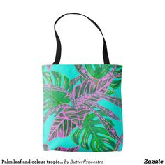Shop Palm leaf and coleus tropical ice tote created by Butterflybeestro. Tropical Design, Fire And Ice, Edge Design, Coral Pink, Palm, Reusable Tote Bags, Turquoise, Black, Black People