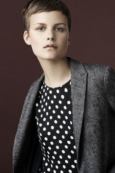 love the girly polka dots with the herringbone blazer.  awesome contrast.