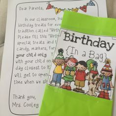 Classroom Birthday Idea... Birthday in a Bag