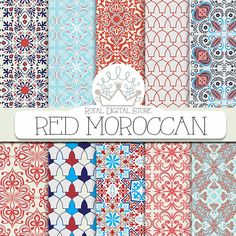 "Moroccan digital paper: "" RED MOROCCAN"" with red moroccan pattern, red damask, red mosaic for scrapbooking, cards, invitations #red #moroccan #planner #blue #wedding #digitalpaper #scrapbookpaper #damask"