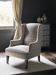 Idbury chair in O&L check  #WesleyBarrell