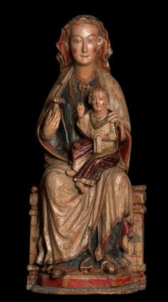 TALLER DE NAVARRA - La Virgen con el Niño Madera, policromada, 114 x 49,5 x 29 cm., Navarra, c. 1280 - 1290 | La Galería Bernat, Barcelona