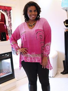Bohemian Pink Patterned Top by Point Zero Curvy