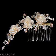 Flower & Diamante Bridal Hair Comb (Large) - Photo 1