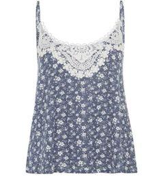 Blue Crochet Trim Ditsy Floral Cami