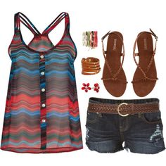 Blue, Red, & Black, created by caiticat on Polyvore