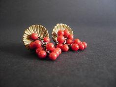 Antique Art Nouveau French Red Earrings  St.Jacques by ParisMadame