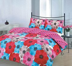 Duvet cover set christmas stag floral dotted printed quilt bedding sets new (sophia red, double) Damask Bedding, Plaid Bedding, Pink Bedding, Luxury Bedding, White Bedding, Comforter Sets, Turquoise Bedding, Vintage Bedding, Queen Bedding