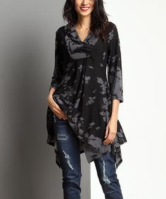 Loving this Charcoal Floral Shawl Collar Handkerchief Tunic on #zulily! #zulilyfinds