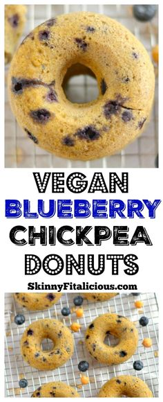 Blueberry Chickpea Donuts {GF, Low Cal, Vegan} - Skinny Fitalicious