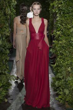 """Sibylle Palmifera"", Edirne red silk crêpe toga, cinnabar leather laces."