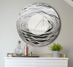 Silver & Black Abstract Water-Inspired Metal Wall Art Mirror - Handcrafted Modern Circle Mirror Accent - 3D Contemporary Functional Art