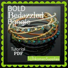 Bold Bedazzled Bangle with Swarovski Crystals Tutorial - Expert PDF by UnkamenSupplies on Etsy https://www.etsy.com/listing/192240285/bold-bedazzled-bangle-with-swarovski