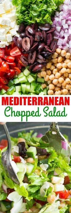 Mediterranean Chopped Salad is so YUMMY! I'm obsessed with the feta, especially.This Mediterranean Chopped Salad is so YUMMY! I'm obsessed with the feta, especially. Easy Salads, Healthy Salads, Summer Salads, Healthy Eating, Healthy Food, Vegetarian Recipes, Cooking Recipes, Healthy Recipes, Cooking Tips