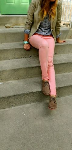 oxfords and coral pants <3