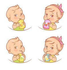 Little girl and boy drink juice, eat fruit puree. Children holding pack of juice, drink through a straw. Fruit an berry for baby nutrition. Logo for organic product.