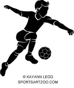 Soccer Boy Kicking Silhouette by SportsArtZoo #soccer #boy #football