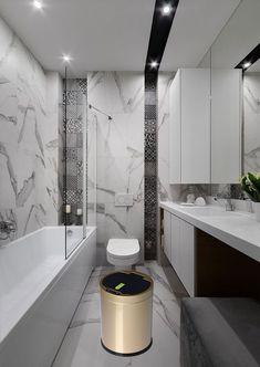 touch free sensor automatic stainless steel trash can kitchen china Modern Bathroom Tile, Big Bathrooms, Bathroom Design Luxury, Bathroom Sets, Small Bathroom, Restroom Design, Ideas Hogar, Toilet Design, Bathroom Toilets