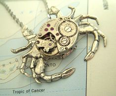 Gothic Jewelry Victorian Steampunk Necklace Silver Crab Necklace Vintage Watch Movement Upcycled Jewelry Gothic Victorian Style Woman's Steampunk Gifts For Her New