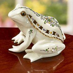 LENOX Figurines: Forest Animals - Jewels of Light Frog Figurine