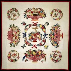 Appliqued bed quilt made by Mary Heidenroder Simon in 1845-1850