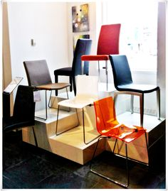 Our new chair display - love the set up with different heights and colours. Options! #furniture @BoConceptYYC