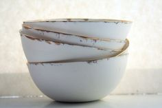 English fine bone china bowl with real gold by madebymanos on Etsy, £22.00