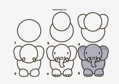 kerajinan anak TK/SD, langkah/cara menggambar gajah & mewarnai