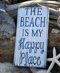 Beach Sign, Beach Decor, The Beach Is My Happy Place Wood Sign Art