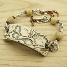 Ceramic leaf bracelet copper silver mixed by laurelmoonjewelry, $24.00