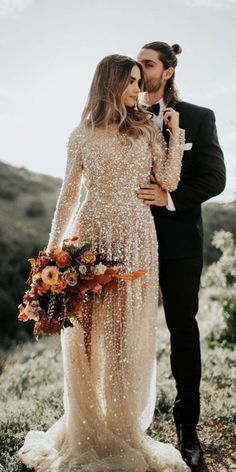 18 Gold Wedding Gowns For Bride Who Wants To Shine ❤  gold wedding gowns a line with long sleeves sequins chosen one day #weddingforward #wedding #bride